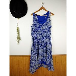 CABI Blue Layered Handkerchief Floral Dress #851